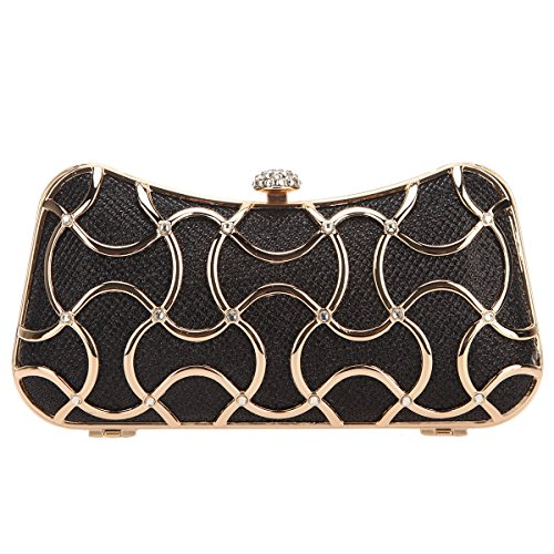Evening Clutch Metal With Handle Black Bonjanvye For Women Bags FxRn5w4