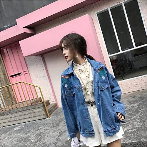 Autunno Eleganti Outerwear Blau Tempo Denim Giacca Manica Jeans Sciolto Libero Fiori Style Bavero Fashion Ragazze Primaverile Giacche Vintage Blu Lunga Donna Cappotto Ricamate Festa YTYRgO
