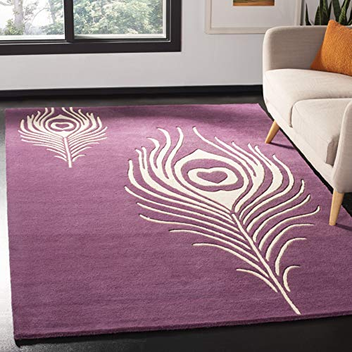 Safavieh Soho Collection SOH704A Handmade Purple and Ivory Premium Wool Area Rug 5 x 8