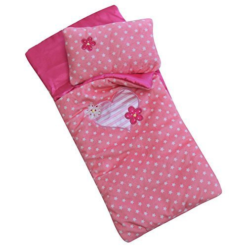 """Dolled Up Designs 18"""" Pink and White Stars Sleeping Bag with Pillow"""