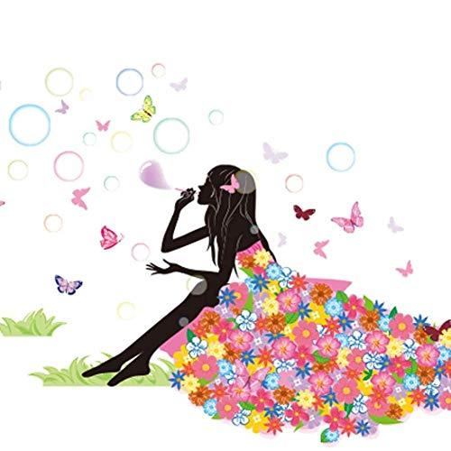 SWORNA Nature Series Flower Butterfly Girl Blowing Bubble Removable Vinyl DIY Wall Art Mural Sticker Decal Decor - Living Room/Play/Bedroom/ Hallway/Kindergarten/Home Office Nursery/School 35H X 52W