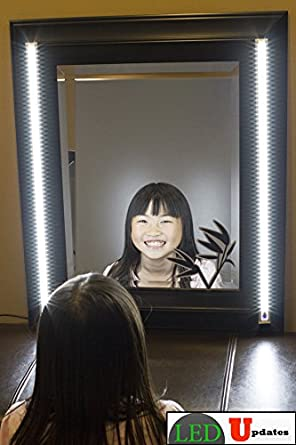 make up mirror led light white color dual 2ft vanity mirror light set with ul power adapter. Black Bedroom Furniture Sets. Home Design Ideas