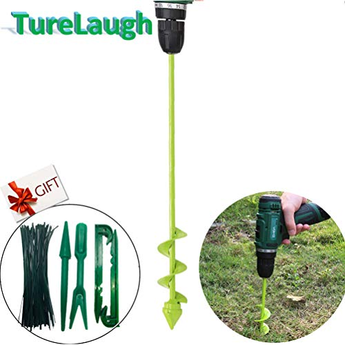 TureLaugh Auger Drill Bit, Backyard Plant Flower Bulb Auger 1.5″ x 16″ Fast Planter, Bulb & Bedding Plant Auger for 3/8″ Hex Drive Drill (B)