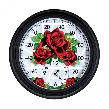 Exhart NYBG Rose Design Clock And Thermometer
