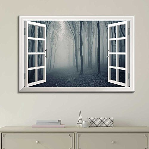 White Window Looking Out Into a Dark Foggy Forest