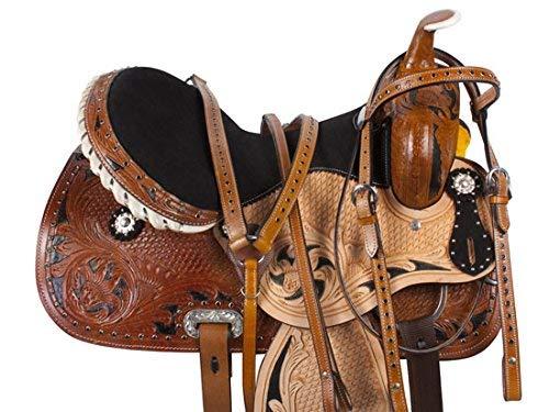 Manaal Enterprises 子供用 プレミアムレザー ウェスタンポニー ミニチュア 馬 サドルタック お揃いの革製ヘッドストール + 胸のカラー + 手綱サイズ 10 インチ& 12 インチのシート付き B07HMQ4MDX  10\