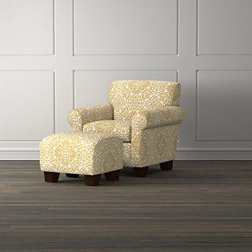 ProLounger Winnetka Damask Chair and Ottoman, Golden Yellow