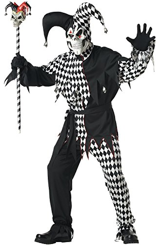 Black and White Evil Jester Adult Costume
