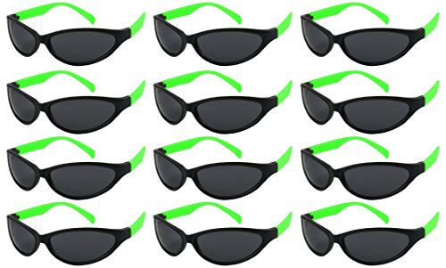 Edge I-Wear 12 Pack 80's Neon Sport Style Sunglasses with 100% UV Protection ( Made in Taiwan) - I Green Glasses