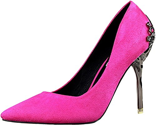 ODEMA Women's Sexy Pointed Toe High Heels Stilettos Pumps Wedding Shoes Rose MCzn4a2D85