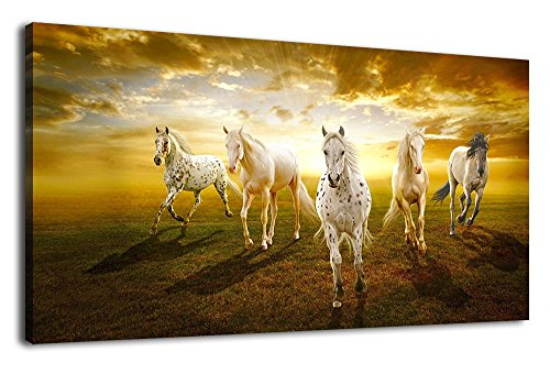Running Horse Decor (Canvas Art Race Horses Running Sunset Scene Long Contemporary Wall Art Canvas Picture Modern Artwork Painting Print for Living Room Bedroom Bathroom Kitchen Office Wall Decor Home Decoration 20