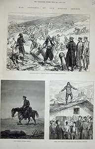 Impresión Antigua de las Lápidas Mortuarias 1877 del Turco de la Reduda de Plevna Gravitza de la Guerra
