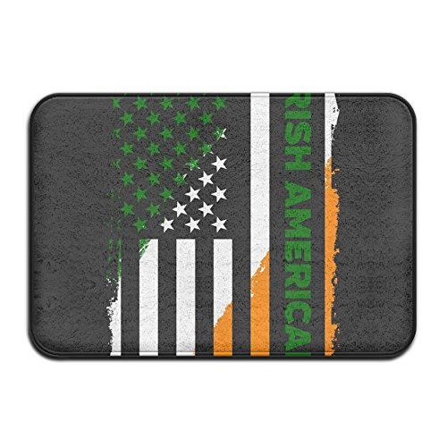 KJDS Plush Bathroom Mat Decor Mat Irish American Flag With S