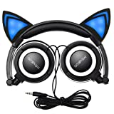 Cat Ear Headphones,MindKoo Flashing Glowing Cosplay Fancy Cat Ear Headphones Foldable Over-Ear Gaming Headsets Earphone with LED Flash light for iPhone 6S,Anroid Mobile Phone - Black