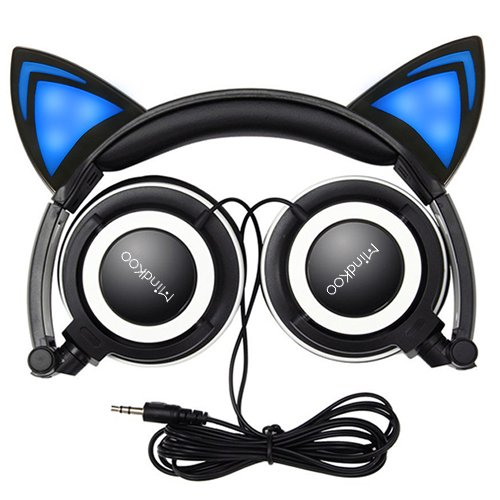 Cat Ear Headphones,MindKoo Flashing Glowing Cosplay Fancy Kids Headphones Foldable Gaming Headsets Earphone with LED Flash Light for iPhone 6S,Android Mobile Phone,PC Laptop Computer