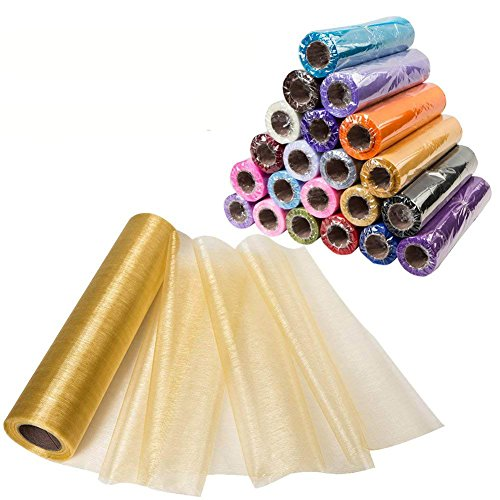 Organza Crystal - Meijuner 29CM Width X 25M Length Organza Roll Sashes Fabric Table Runner Chair Sashes Bow for Decoration (Champagne)