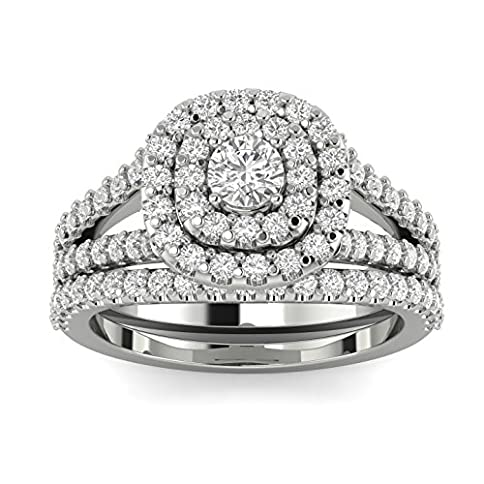 - 517Z 2B3wfbwL - 1 1/10ct Cushion Halo Diamond Engagement Wedding Ring Set 10K White Gold