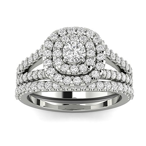 1 1/10ct Cushion Halo Diamond Engagement Wedding Ring Set 10K White Gold (10k Set Gold)