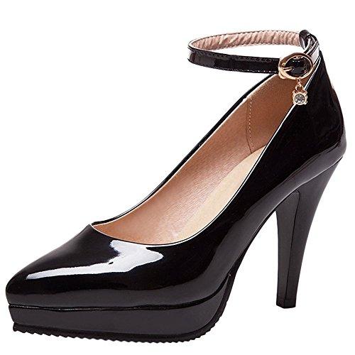 Mee Shoes Damen High Heels Lackleder Plateau Pumps Schwarz