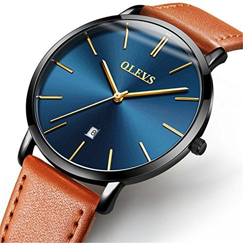 (YPF OLEVS Men Fashion Ultrathin 6.5mm Steel Bezel Retro Yellow/Brown/ Black Cowhide PU Leather Quartz Wrist Watches, Blue/Black/ White Date Dial Waterproof Watches)