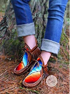 250bf9fb126e Hand Stitched Leather Serape Moccasin Boots
