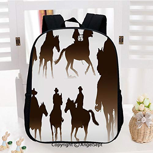 Backpack for Kids,Collection of Horseback Riding Silhouettes Bridle Ranch Stallion Equestrian Theme Decorative Printed Children School Backpack Cool Bookbag,Dark Brown