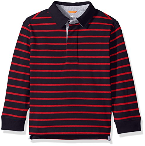 - Scout + Ro Big Boys' Stripe Rugby Shirt, Swim Navy/Red, 10