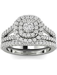 1 110ct cushion halo diamond engagement wedding ring set 10k white gold - White Gold Wedding Ring Sets