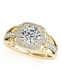 Silvernshine Jewels 1.76 Carat White Sim Diamond 10k Yellow Gold Wedding Engagement Ring