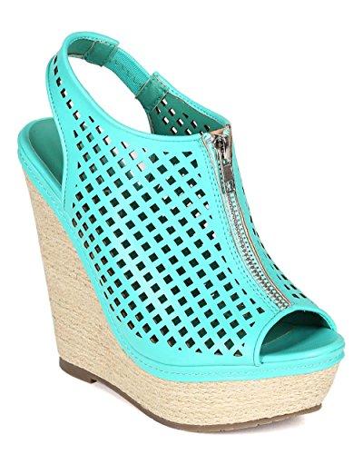 Liliana CB83 Women Leatherette Peep Toe Perforated Espadrille Slingback Platform Wedge Sandal - Turquoise