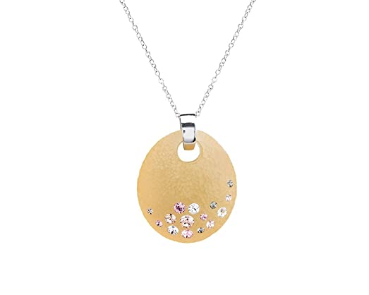 Amazon handcrafted champagne gold lucite disk pendant necklace handcrafted champagne gold lucite disk pendant necklace with colorful crystals on a silver chain aloadofball Images