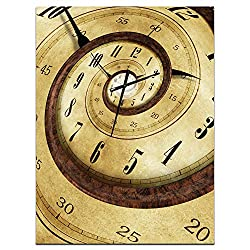 Designart Endless Time Spiral Wall Art Design Modern & Contemporary Circle Wall Decorative Clock - Home Decorations for Home, Living Room, Bedroom, Office Decoration Round Metal Wall Clock