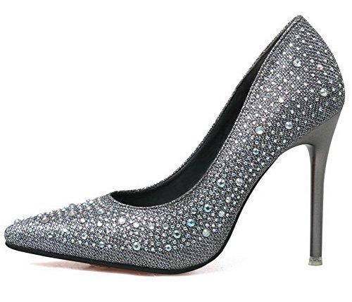 Aalardom Kvinners Mykt Materiale Solide Pigger-stilettos Pekte Tå Pumper-sko Med Glass Diamond Grå