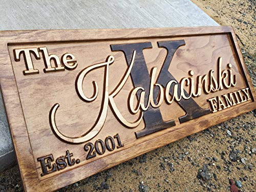 Personalized Family Name Sign Personalized Wedding Gifts Wall Art Rustic Home Decor Custom Carved Wooden Signs Couples 5 Year Anniversary Gift]()