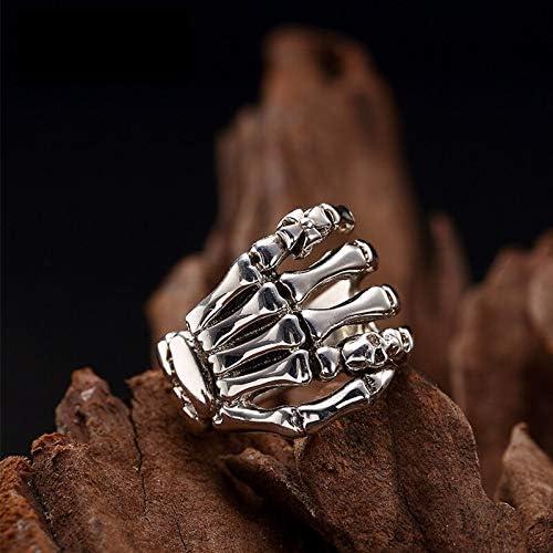 MengC 100% 純粋な 925 スターリングシルバージュエリーパンク頭蓋骨の手のリング男性のための特別なクリスマスプレゼント FR029