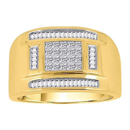 KATARINA Baguette and Princess Cut Diamond Men's Ring in 10K Yellow Gold (3/4 cttw, G-H, VS2-SI1) (Size-10.5)
