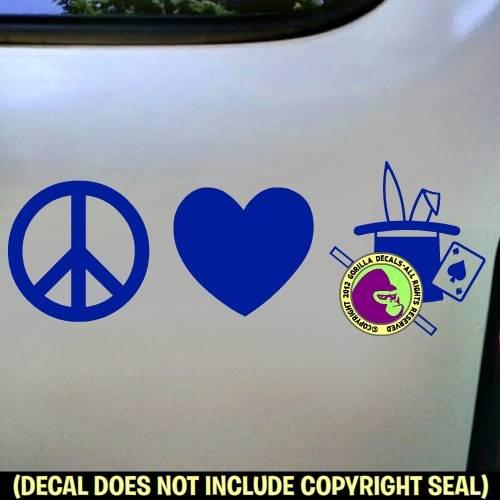 PEACE LOVE MAGIC Magician Vinyl Decal Sticker E
