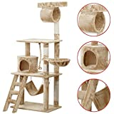 World Pride Cat Tree Furniture with Hammock and Platform 62 in. High (Beige) For Sale