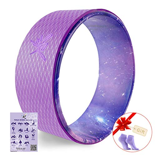 Yoga Wheel - Strongest Most Comfortable Dharma Yoga Prop Wheel for Yoga Poses, Perfect Roller for Stretching, Increasing Flexibility and Improving Backbends (Purple Star Sky)
