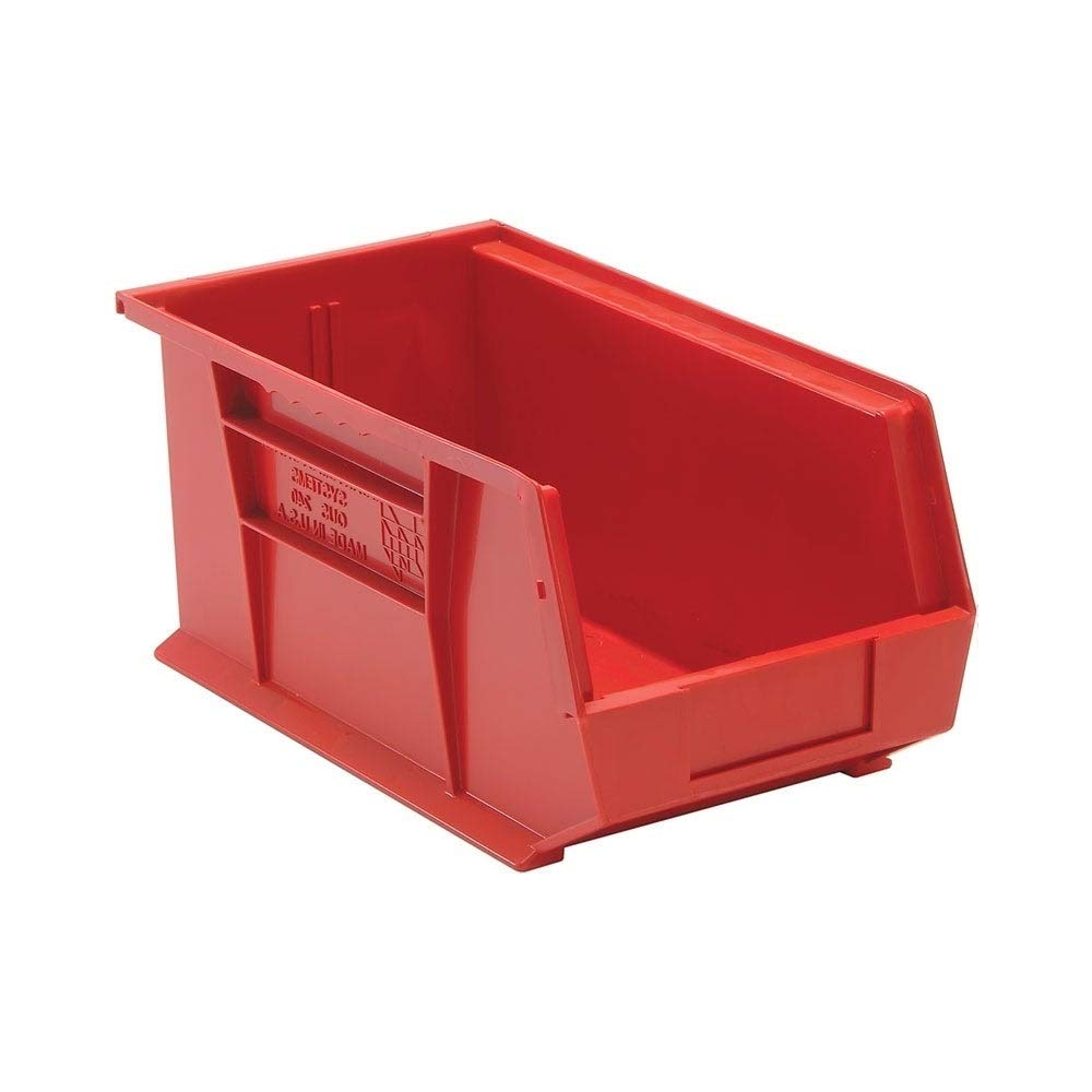 Quantum Polypropylene Red Ultra Stack and Hang Bin 14 3/4'' x 8 1/4'' x 7'' - 12 Pack