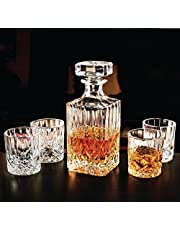 Circleware 33280 Wellfort Whiskey Decanter Entertainment Set of 5, 1 Liquor Dispenser Beverage Bottle with Square Stopper and 4 Matching Bar Drinking Glasses, 710ml Carafe & 7.5 oz Cups, Clear