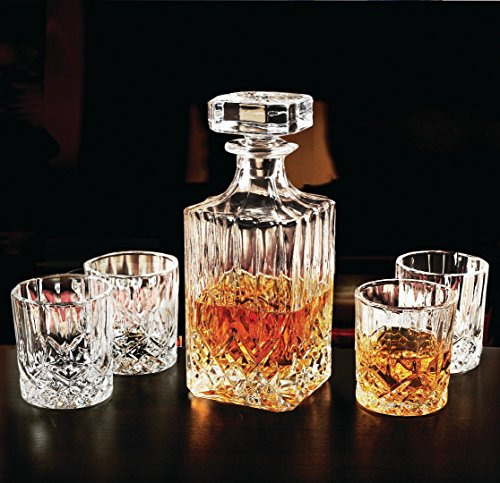 (Circleware 10103 Wellfort Whiskey Decanter Entertainment Set of 5, 1 Liquor Dispenser Beverage Bottle with Square Stopper and 4 Matching Bar Drinking Glasses, 710ml Carafe and 7.5 oz Cups,)