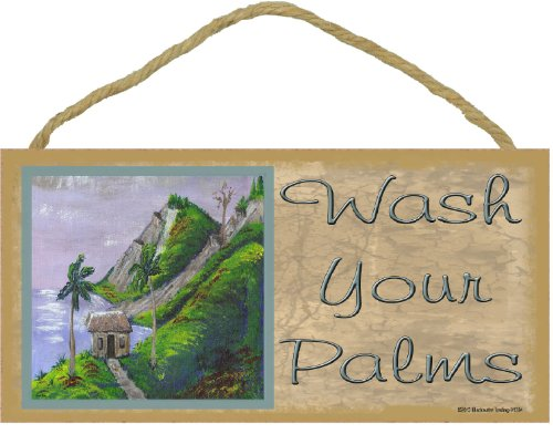 (Wash Your Palms Tropical Palm Tree Beach Ocean Bath Wall Decor Sign Plaque 5