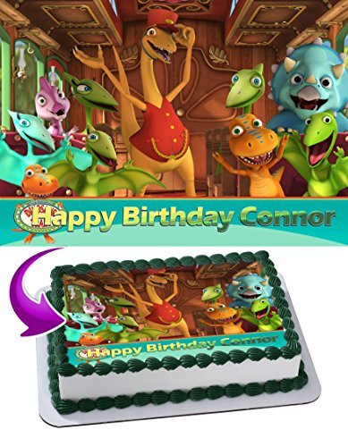 Dinosaur Train Edible Cake Topper Personalized Birthday 1/4 Sheet Decoration Custom Sheet Party Birthday on Wafer Rice -
