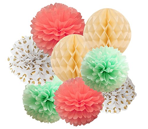 Qian's Party 14pcs 12inch 10inch Mint Coral Gold Dot Tissue Paper Pom Pom Mixed Cream Honeycomb BallsBaby Shower Decorations Paper Flowers for Bridal Shower Decoration, First Birthday Decoration (Gold Coral)