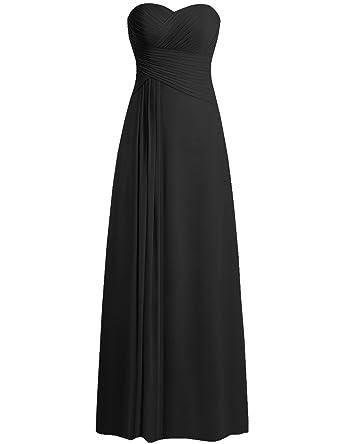 0f15c9fb01d JAEDEN Bridesmaid Dress Prom Dresses Long Sweetheart Chiffon Evening Gown  Pleat Strapless Black XS