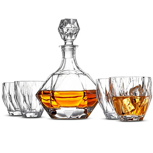 5-Piece European Style Whiskey Decanter and Glass Set - With Magnetic Gift Box - Exquisite Diamond Design Liquor Decanter & 4 Whiskey Glasses - Perfect Whiskey Decanter Set for Scotch Alcohol Bourbon. (Style Set European)