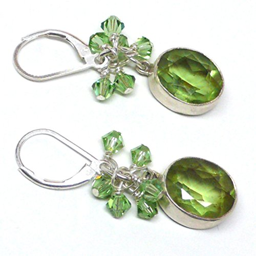 Cabochon Cluster Ring - Peridot Faceted Cabochon Sterling Silver Earrings Crystal Cluster Drop Lever Back