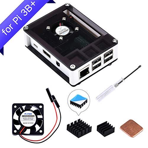 GeeekPi Raspberry Pi 3 B+ Case, Raspberry Pi Case with Fan, Raspberry Pi Heatsink for Raspberry Pi 3 Model B+, Raspberry Pi 3/2 Model B (White&Black)
