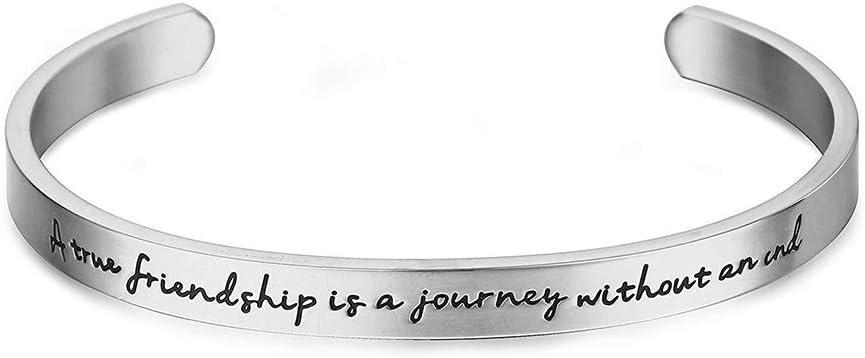 1 UNID Brazalete de Acero Inoxidable Bracele Inspirational Best Friend Bangle Regalos Grabados Personalizados para Mujeres size True (Sliver)